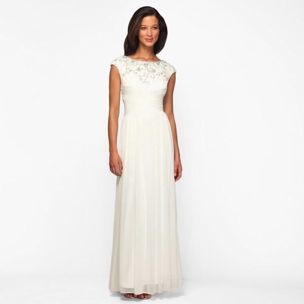 Alex Evenings Women's Ivory Pleated Waist Long Formal Dress