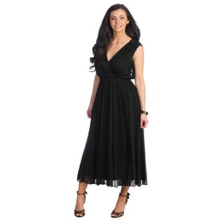 Alex Evenings Women's Sleeveless T-length Surplice Dress