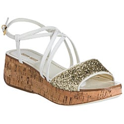 Miu Miu Women's White/Gold Patent Leather Cork Wedge Sandals