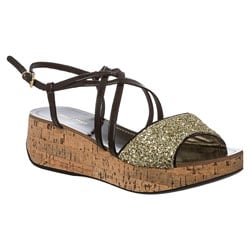 Miu Miu Women's Black/Gold Patent Leather Cork Wedge Sandals