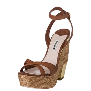 Miu Miu Women's Brown Leather and Jute Espadrille Sandals