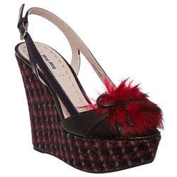 Miu Miu Women's Navy Tweed and Faux Fur Wedge Sandals