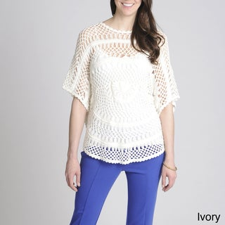 Focus Lifestyle Women's Openwork Crocheted Sweater