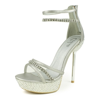 Celeste Women's 'STACY-02' Rhinestone-Studded Chrome Heel Sandals