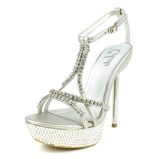 Celeste Women's 'STACY-03' Rhinestone-Studded Chrome Heel Sandals