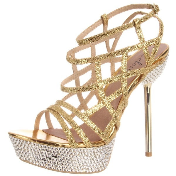 Celeste Women's 'Stacy-06' Gold Strappy Rhinestones Sandals