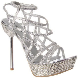 Celeste Women's 'STACY-06' Strappy Medium-Width Rhinestones Sandals