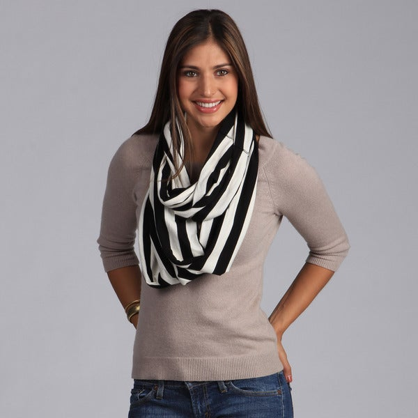Peach Couture Black and White Striped Infinity Loop Scarf