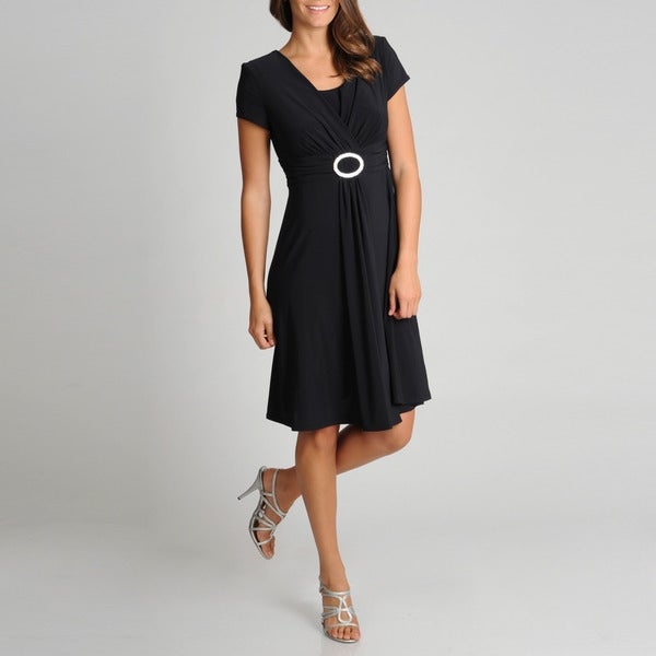 R & M Richards Women's Petite Black O-ring Cap Sleeve Dress