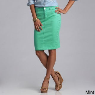 Tabeez Women's Colored Denim 5-pocket Pencil Skirt