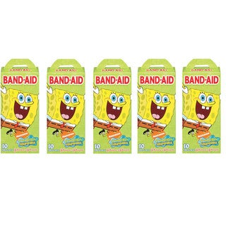 Children&#39;s Spongebob Squarepants Adhesive 10 Count Band-Aids (Pack of 5)