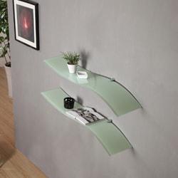 Ascent White Floating Glass Shelves (Set of 2)