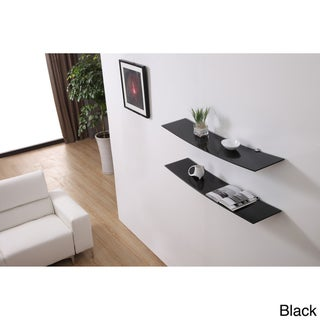 Black Gravity Floating Glass Modern Shelves (set of 2)