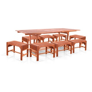Vifah 9-piece Dining Set with Extension Table and Backless Benches