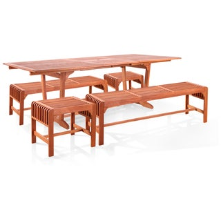 Vifah 5-piece Dining Set with Extension Table and Backless Benches