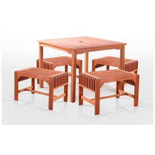 Slatted Wood 5-Piece Square Outdoor Dining Set