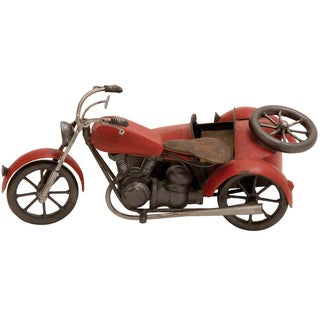 Handmade Vintage-style Metal Model Motorcycle with Sidecar