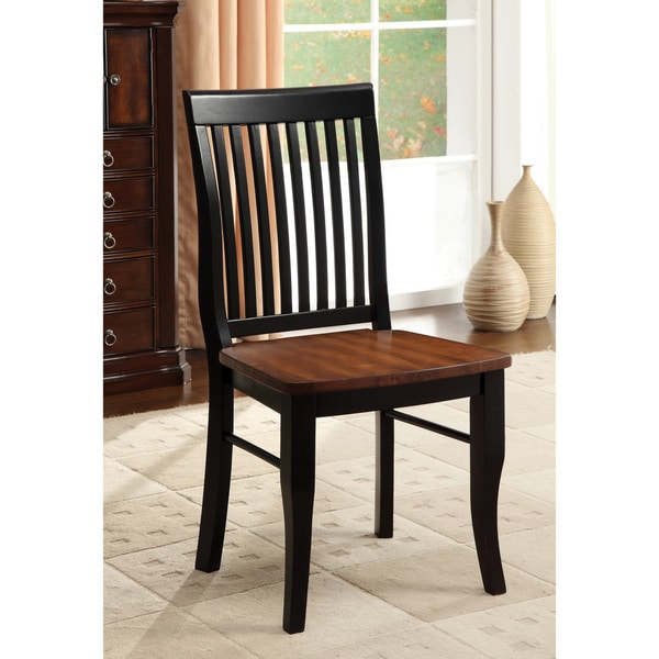 Furniture of America Nora Two-tone Solid Wood Slat-back ...