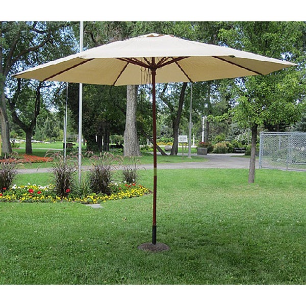 Commercial Grade 13 Foot Wood Market Umbrella With Base