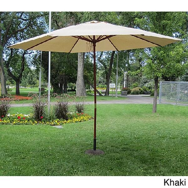 mercial Grade 13 foot Wood Market Umbrella with Base