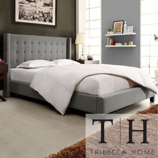 Francesca Grey Linen Wingback Platform Bed