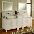 Horizon 84-inch Pearl White/ Carrera Marble Double Bathroom Vanity Sink Console