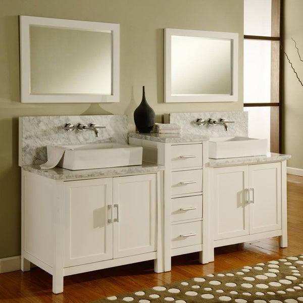 Direct Vanity 84 Inch Horizon Pearl White Carrera Marble Double Bathroom Van