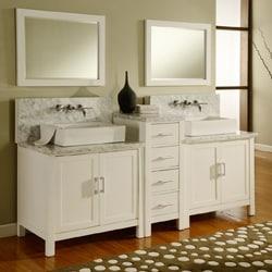 Horizon 84-inch Pearl White/ Carrera Marble Double Bathroom Vanity Sink Console