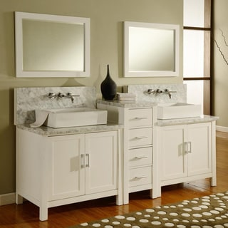 Direct Vanity 84-inch Horizon Pearl White/ Carrera Marble Double Bathroom Vanity Sink Console