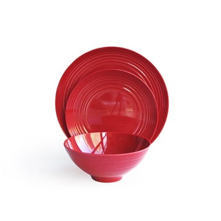 American Atelier Red Round 12-piece Dinnerware Set