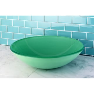 Green Tempered Glass Bathroom Vessel Sink