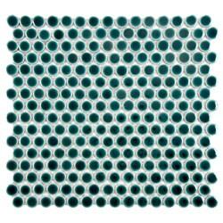 SomerTile 'Penny' Emerald Porcelain Mosaic Tile (Pack of 10)