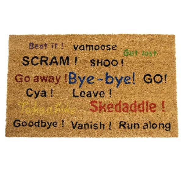 Rubber cal go away scram leave humorous door mat 18 x - Doormat that says leave ...