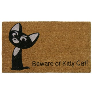 Rubber-Cal 'Beware of Kitty Cat' Coir Door Mat