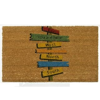 'You Are Here' Coir Brown/Multicolored Outdoor Door Mat