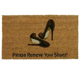 'Please Remove Your Shoes' Coir Outdoor Door Mat