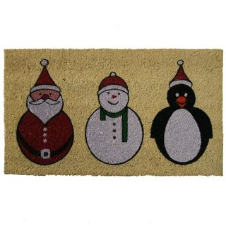 'Santa, Snowman and Penguin' Coir Holiday Door Mat