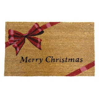 Rubber-Cal 'Merry Christmas' Coir Outdoor Door Mat