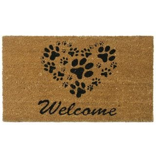 Rubber-Cal Heart-Shaped Paws Coir Eco-Friendly Outdoor Door Mat