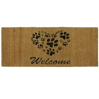 Rubber-Cal Heart Shaped Paws Coir Outdoor Door Mat