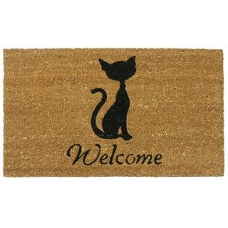Meow Cat Coir Welcome Mat