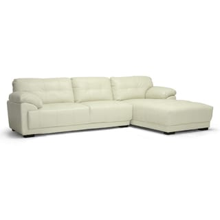 Baxton Studio DeCarlo Leather Sectional Sofa Left/ Right-facing Chaise