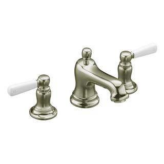 Kohler Bancroft White Ceramic Lever Handle Polished Nickel Widespread Bathroom Faucet