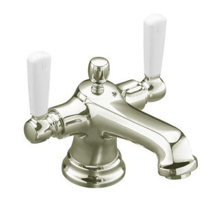 Kohler Bancroft White Ceramic Lever Polished Nickel Monoblock Bathroom Faucet