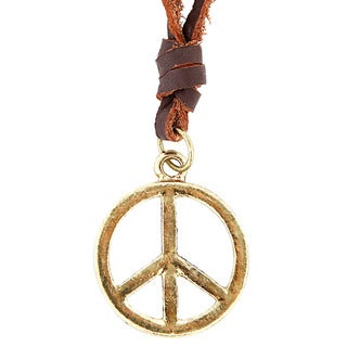 Goldtone Peace Sign and Leather Cord Necklace