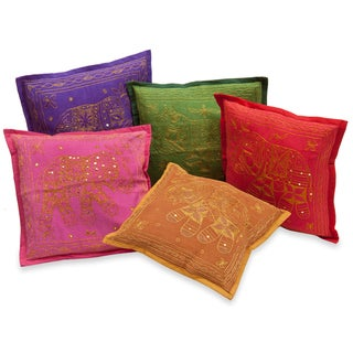 Decorative Pillow Covers Embroidered with Elephants (India)