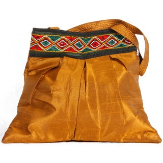 Embroidered Border Ecru Silk Dupioni Shopper Bag (India)