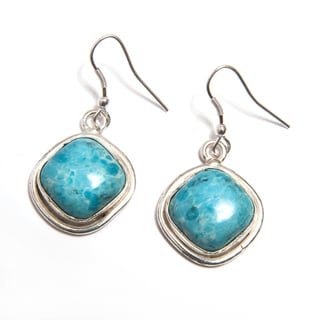 Handmade Silverplate Larimar Earrings (India)