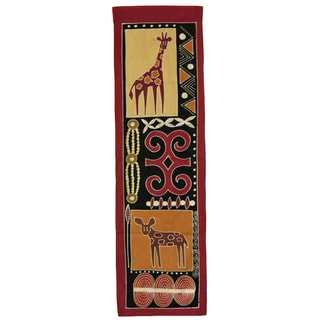 'Giraffe and Wild Dog' - Handpainted African Tapestry (Zambia)