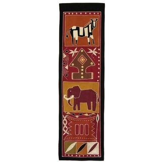 'Zebra and Elephant' Handpainted African Tapestry (Zambia)